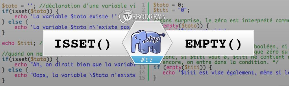 PHP Différence entre isset et empty